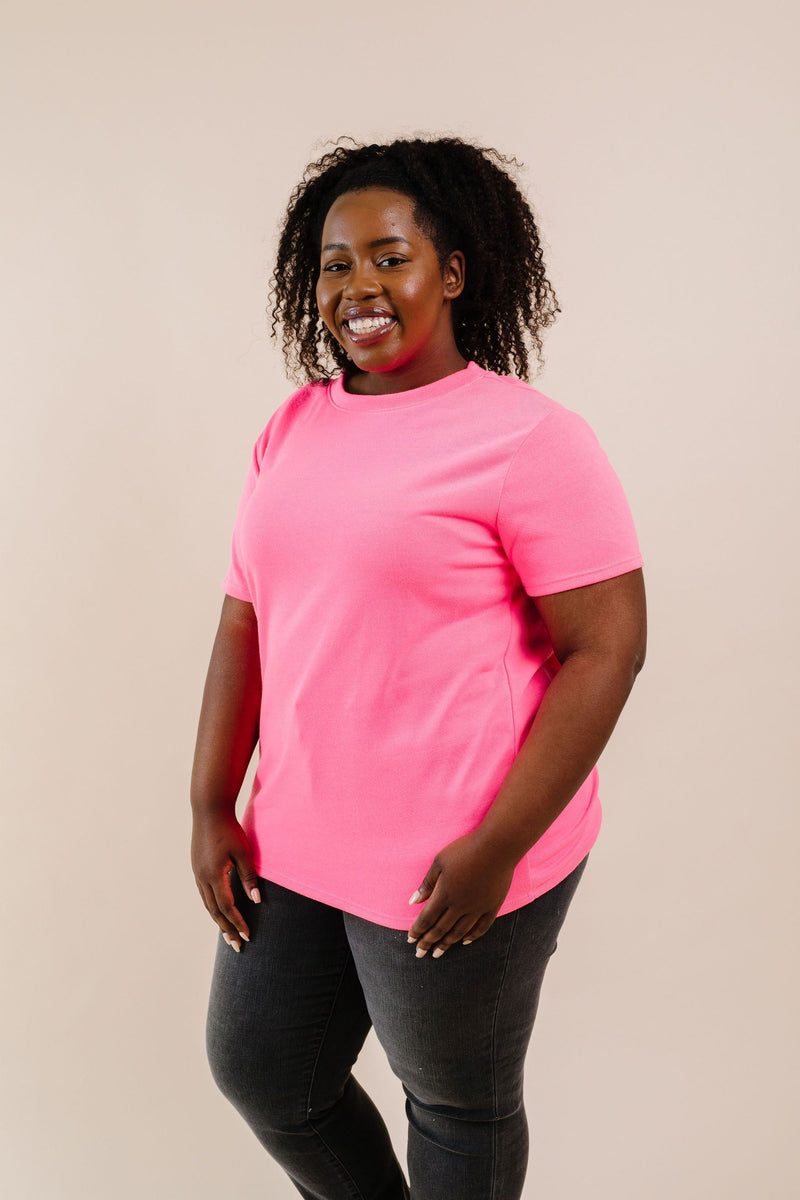 To Lounge Or Bike Top In Hot Pink - Amaranth Collection