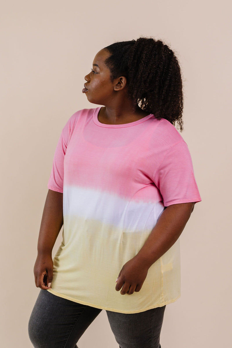 Tie Dye Color Block Tee In Coral & Yellow - Amaranth Collection