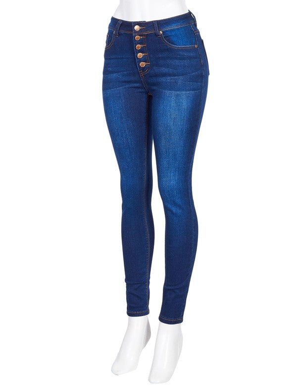Medium Blue Button Fly Skinny Jeans
