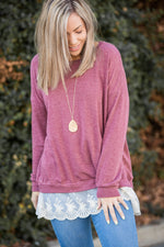 Ruffled in Burgundy Long Sleeve Pullover