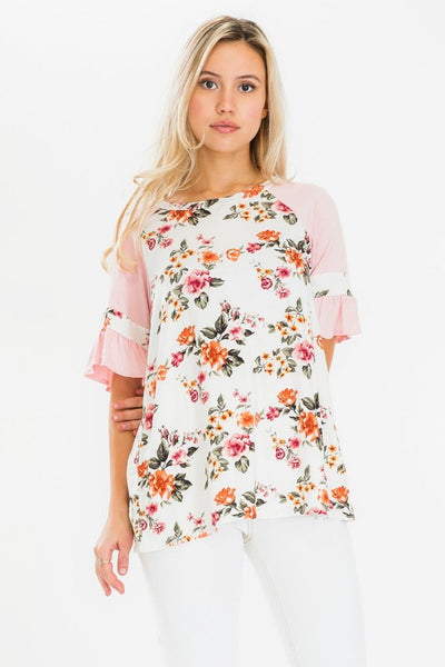 Pink Ruffle Sleeve Floral Henley