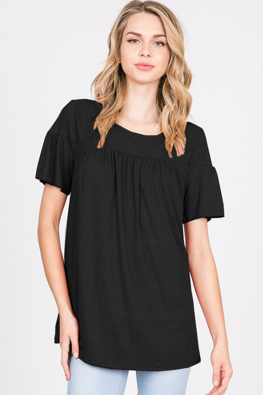 Black Ribbed Ruffle Sleeve Top