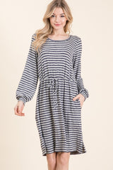 Grey and Navy Striped Dress