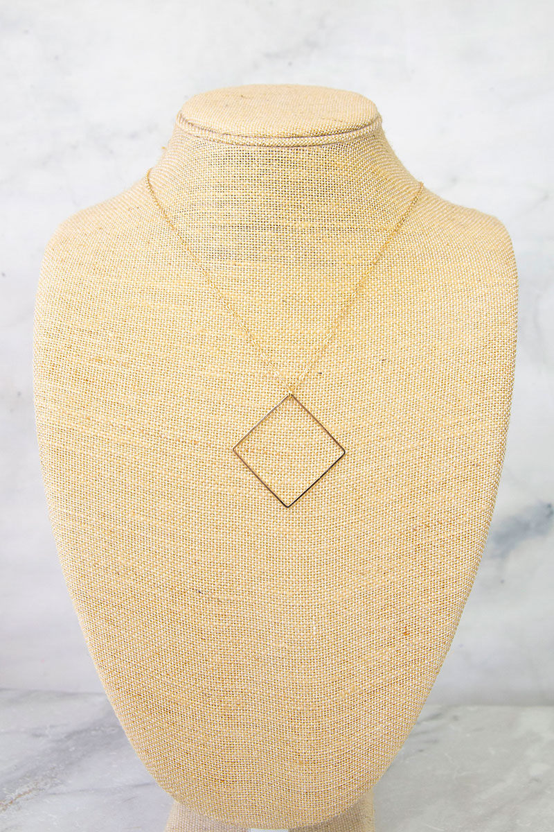 "Geometric ""Diamond"" Shaped Gold Necklace"