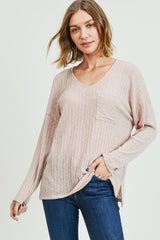 Taupe Ribbed Long Sleeve Top