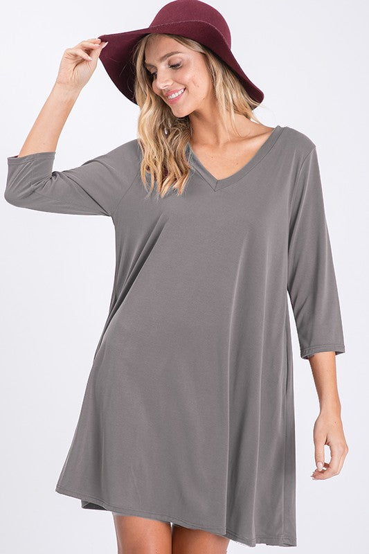 Grey V-Neck 3/4 Sleeve Pocket Dress