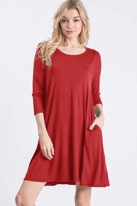 Red Scoop Neck 3/4 Dress with Pockets