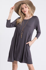 Charcoal Scoop Neck 3/4 Dress with Pockets
