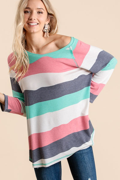 Blush and Aqua Striped Top