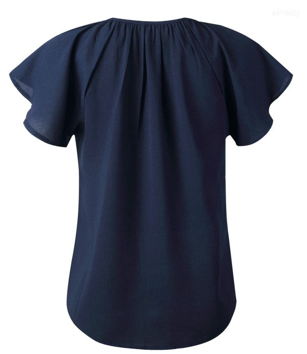 Navy Tie Ruffle Sleeve Top
