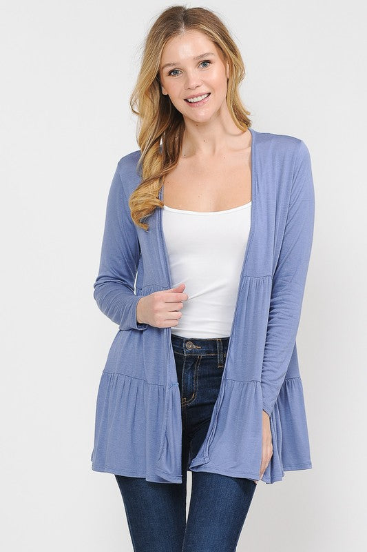 Ruffle Chambray Cardigan
