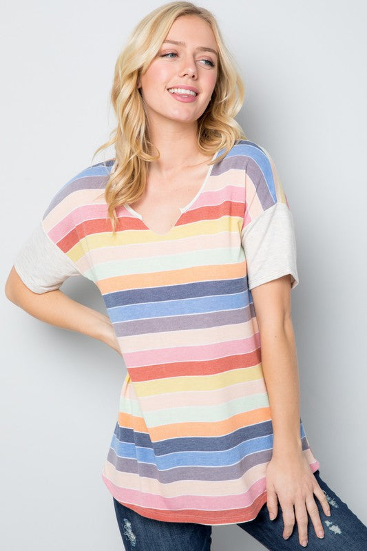 Multicolor Striped Short Sleeve Top