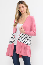 Rose and Stripe Ruffle Cardigan