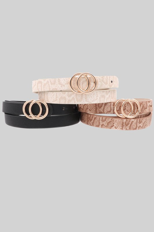 Patterned Skinny Double Ring Belt