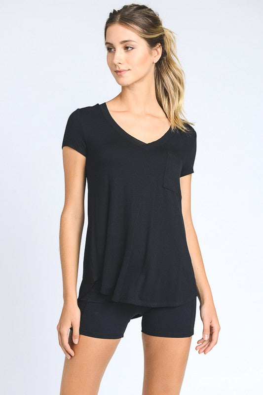 Black V Neck Pocket Tshirt