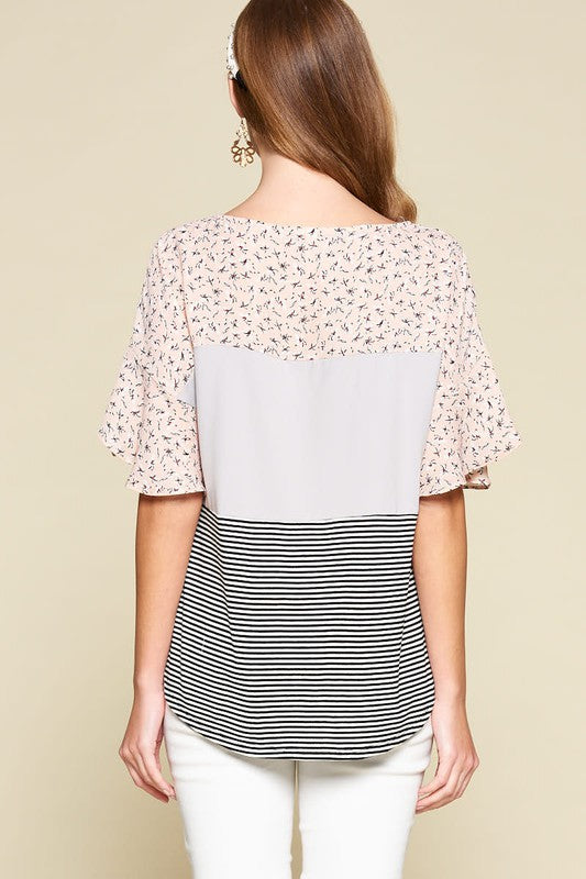 Spring Floral Color Block Blouse