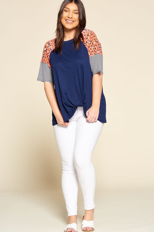 Safari Stripes Ruffle Sleeve Top