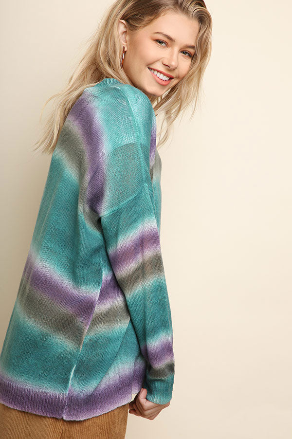 Ombre Teal and Purple Lightweight Sweater100% Acrylic