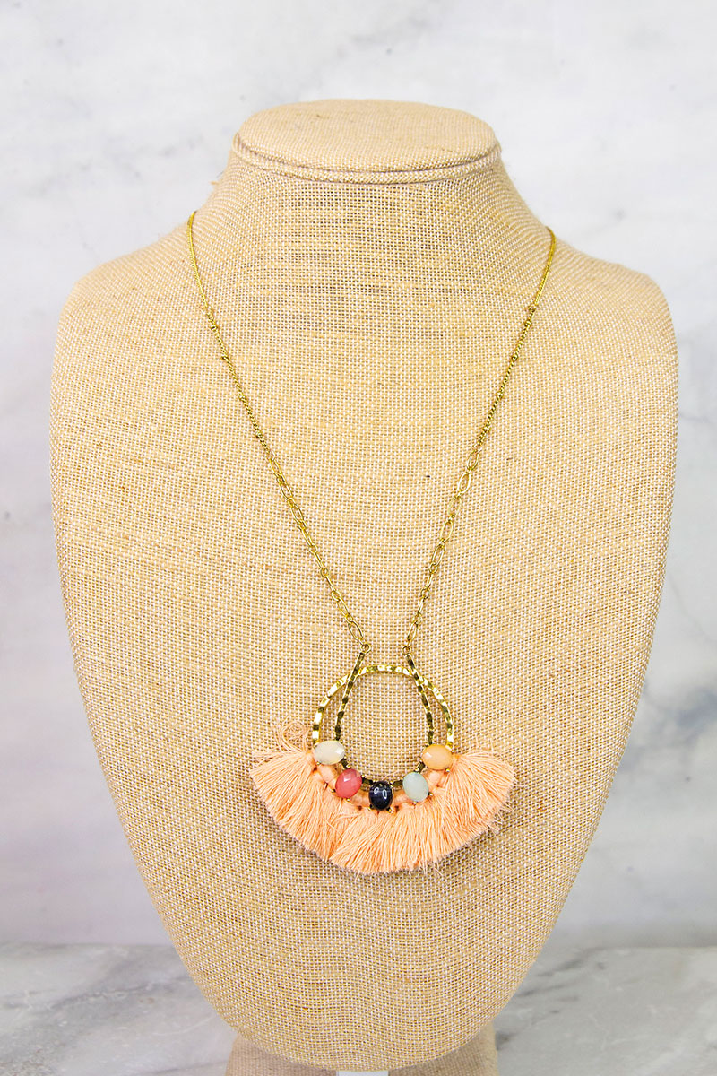 Peach Fringe Beaded Necklace