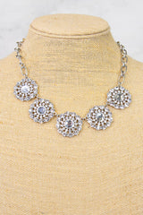Silver Crystal Flower Statement Necklace