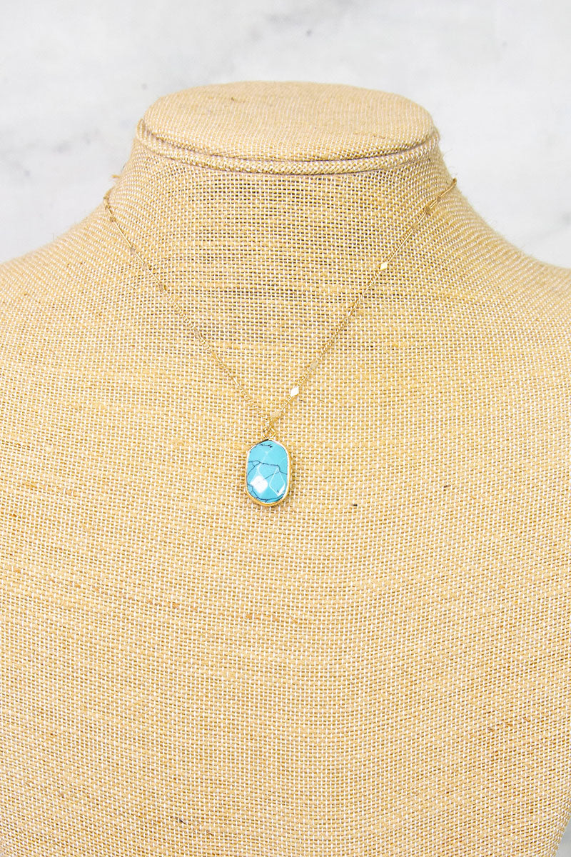 Turquoise Dainty Oblong Stone Necklace