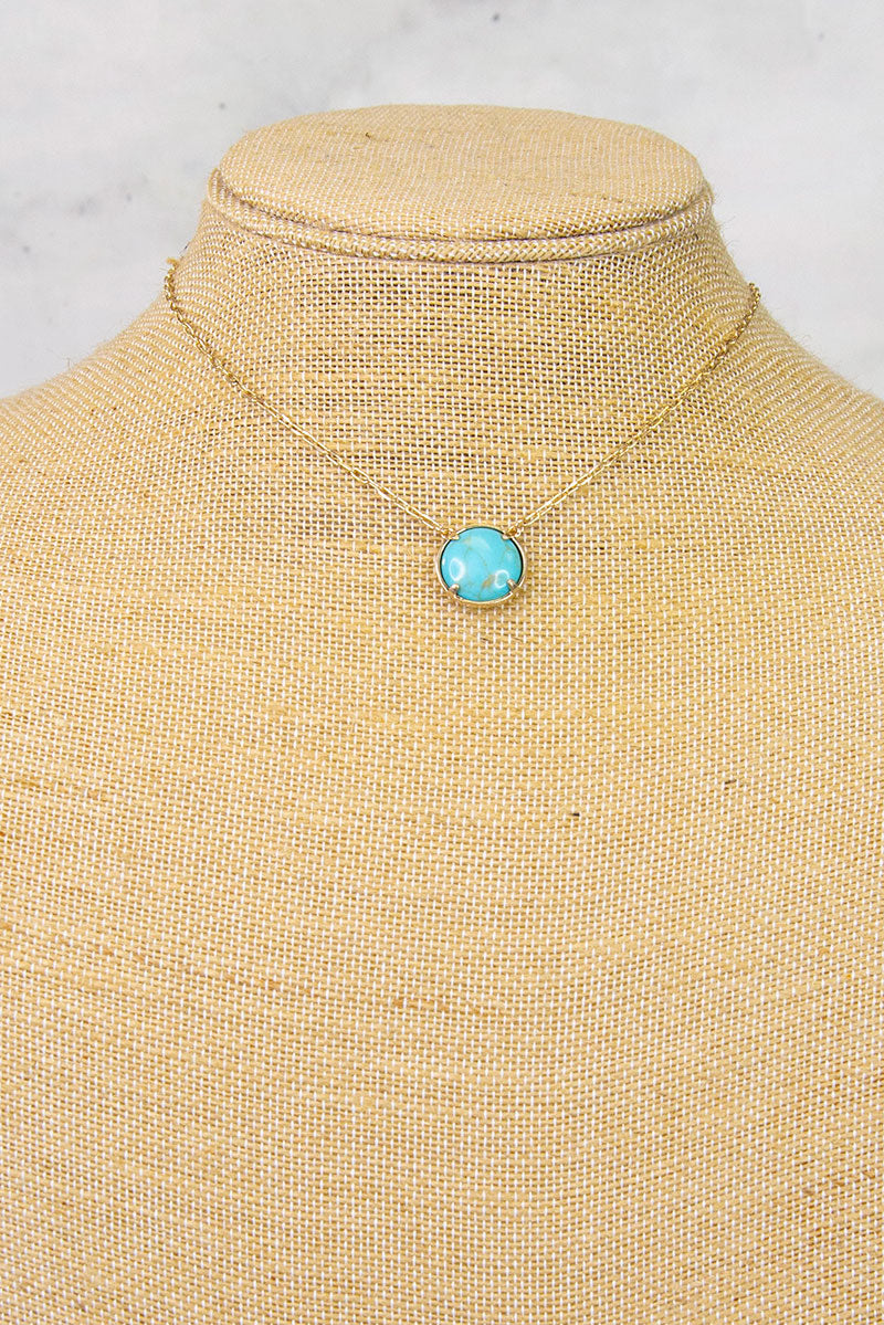 Turquoise Small Circle Stone Necklace
