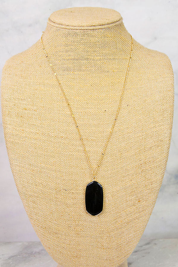 Black Long Oblong Pendant Necklace