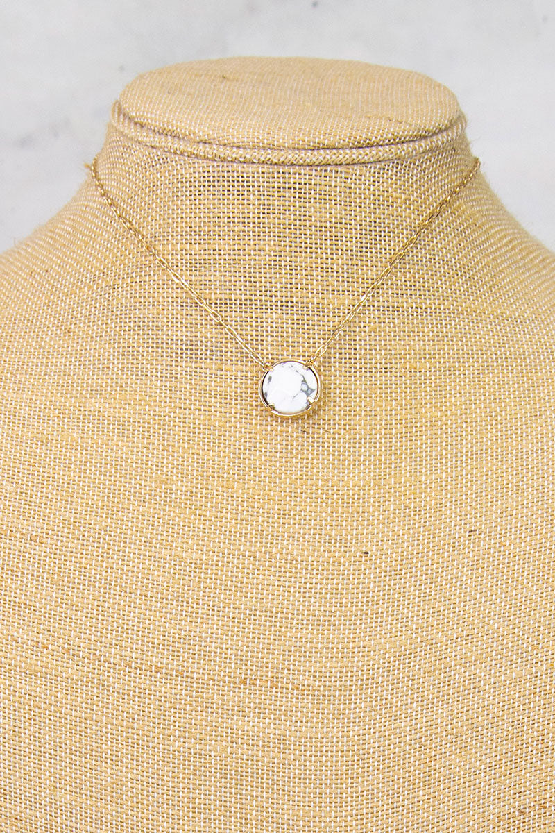 White Marble Small Circle Stone Necklace
