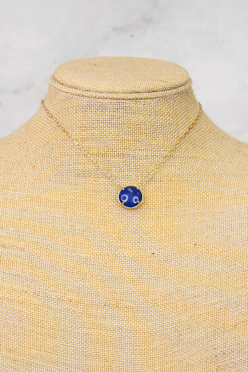 Navy Small Circle Stone Necklace