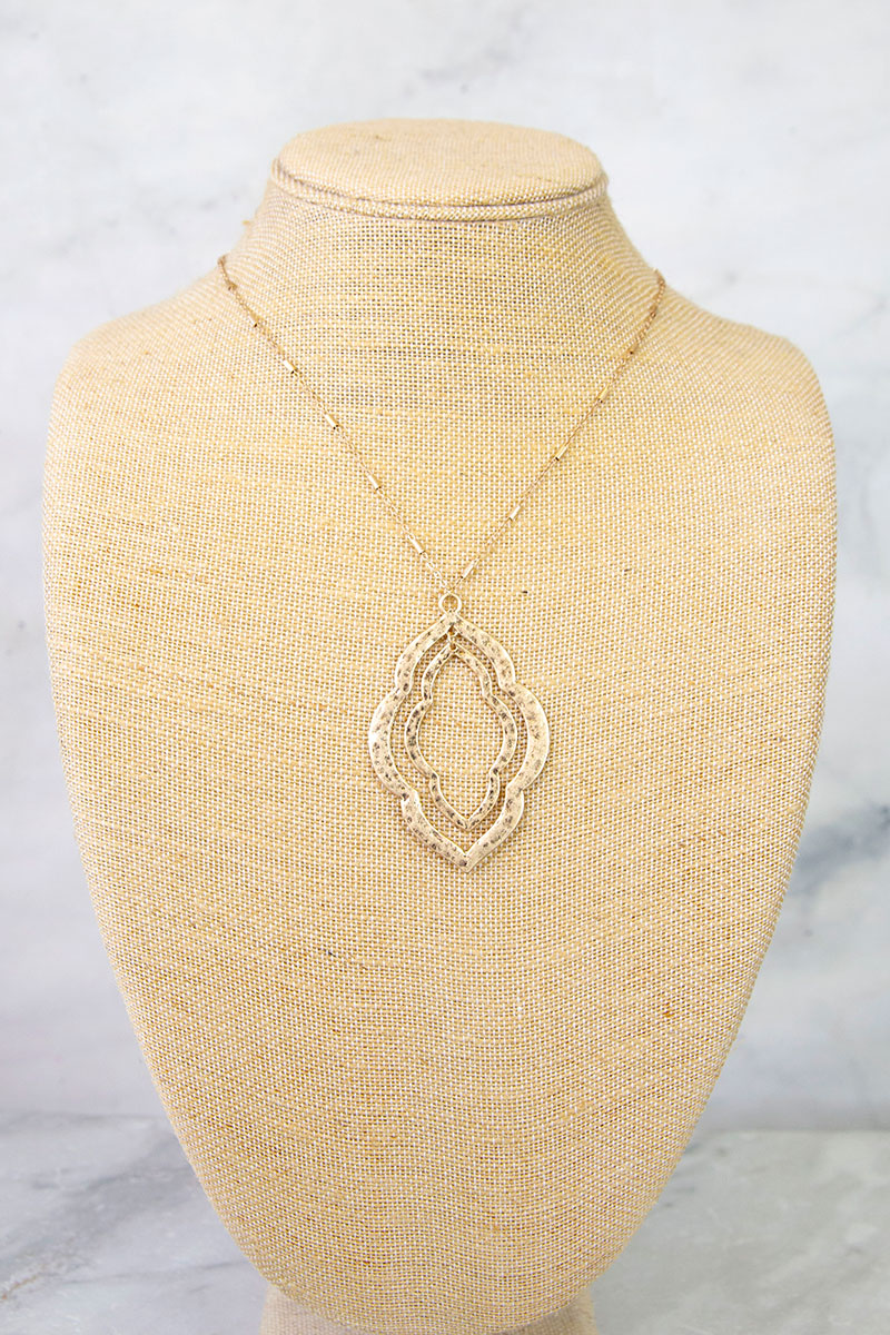 Double Gold Metal Moroccan Pendant