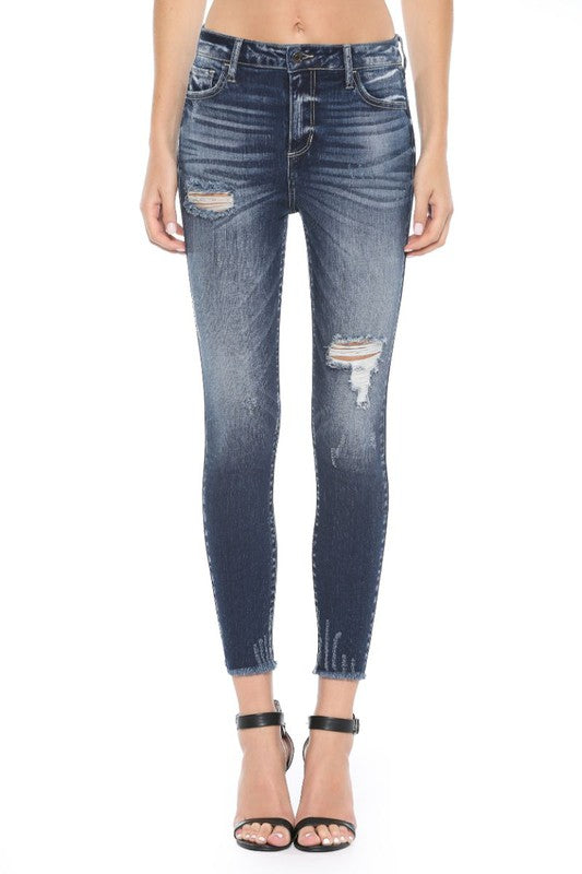 Dark Distressed Ankle Skinny