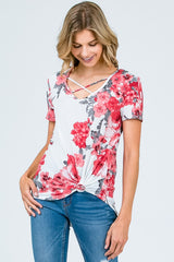 Ivory and Red Floral Criss Cross Top