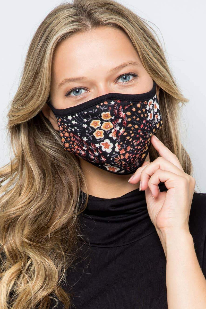 Black Dainty Floral Fabric Face Mask - Amaranth Collection