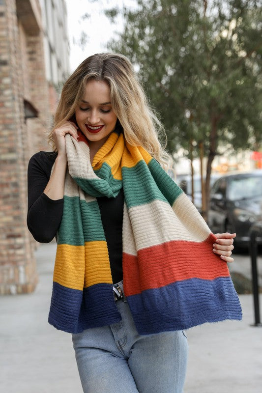 Yellow, Green, and Blue Scarf