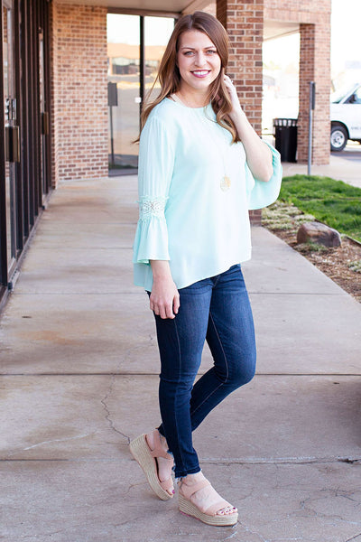 Aqua Top with Lace Sleeve Detail
