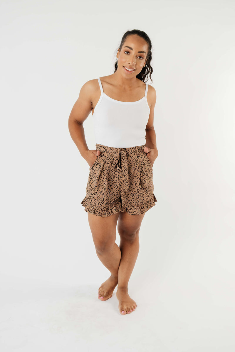 Short Leash Ruffled Shorts In Taupe - Amaranth Collection