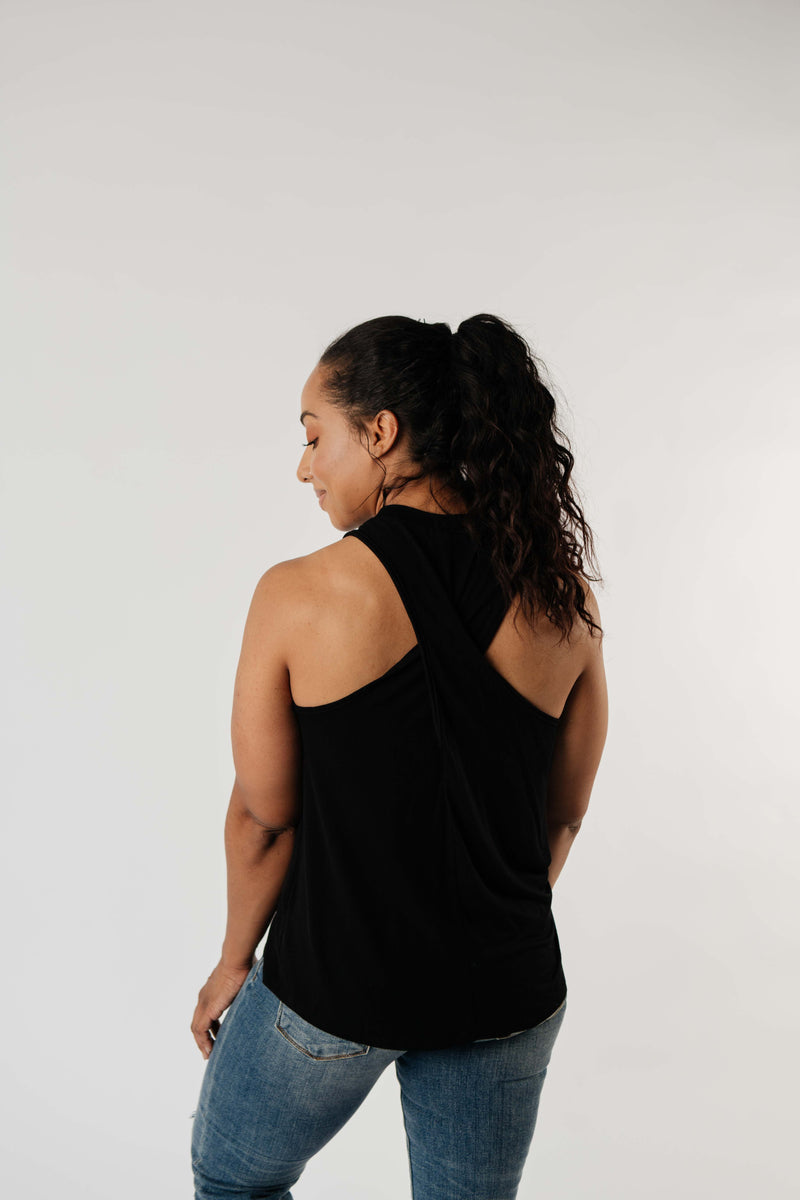 Running Behind Twist Back Tank In Black - Amaranth Collection
