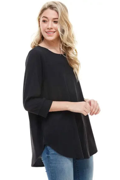 Black Ribbed 3/4 Sleeve Top