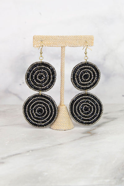 Black Double Circle Beaded Earrings