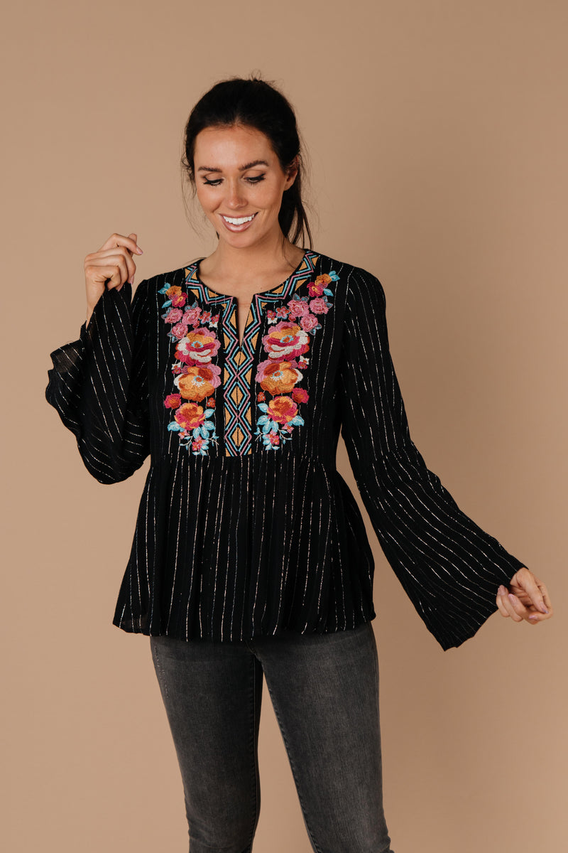 Blooming Rose Striped & Embroidered Blouse