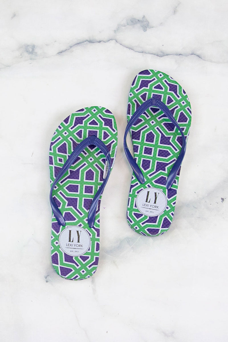 Sunshine in Summer Flip Flops-Navy