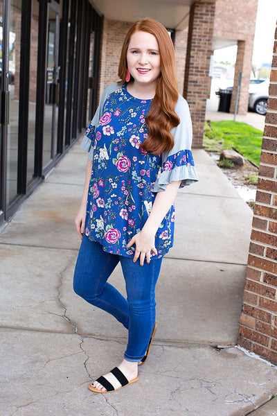 Blue Floral Ruffle Henley
