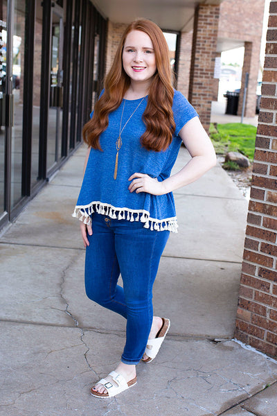 Blue Knit Top with Tassel Hem
