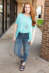 Mint Simple Boxy Textured Rib Knit Top
