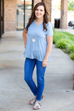 Comfy Solid V Neck Tee in Light Blue