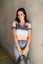 Blurred Stripes V-Neck - Amaranth Collection