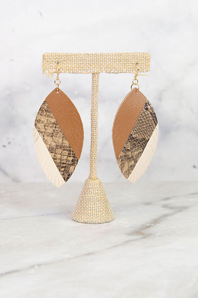 Brown Tri Tone Print Leaf Earrings