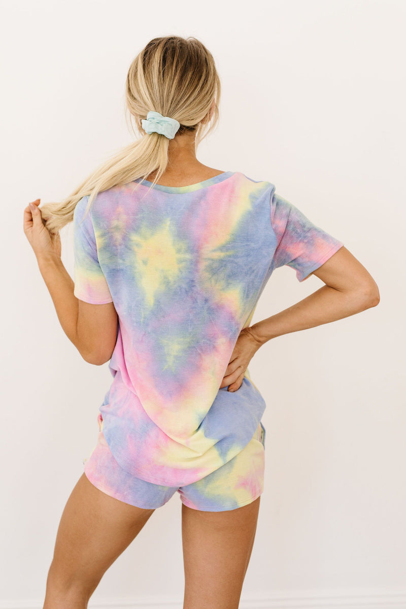 Brushed Knit Tie Dye Lounge Top In Blue - Amaranth Collection
