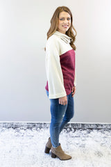 Burgundy and cream color block cowl neck