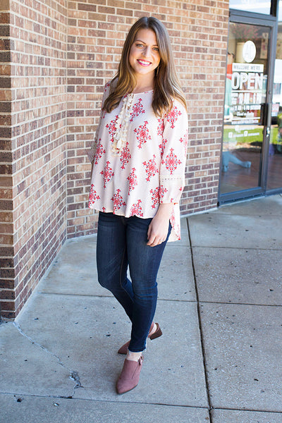 Cherry Boho Top with Tassels